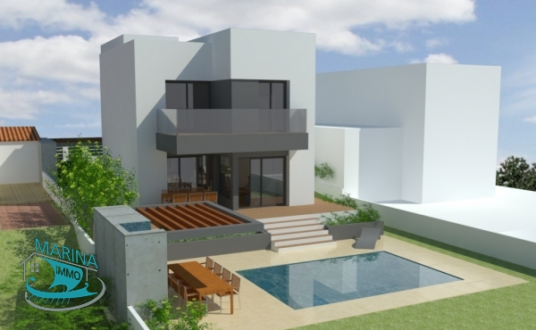 Modern new construction villa with 12.50m mooring and pool
